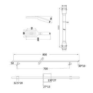 RAK Square Slide Rail Kit with 3 Function Head – 1550mm x 800mm – Chrome
