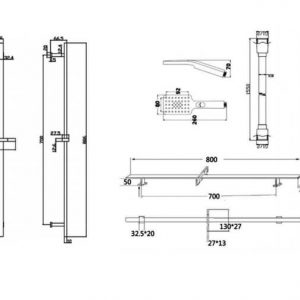 RAK Round Slide Rail Kit with 3 Function Head – 1550mm x 800mm – Chrome
