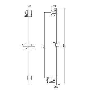 RAK Square Slide Rail Kit with Integral Wall Outlet – Chrome