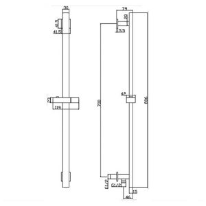 RAK Square Slide Rail Kit with 3 Function Head and Integral Wall Outlet – Chrome