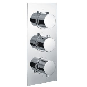 RAK Round Triple Outlet 3 Handle Thermostatic Concealed Shower Valve – Chrome