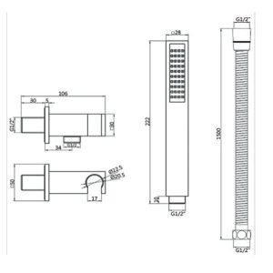 RAK Round Shower Handset Wall Bracket Kit – Black