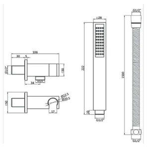 RAK Round Shower Handset Wall Bracket Kit – Chrome