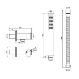 RAK Square Shower Handset Wall Bracket Kit – Black