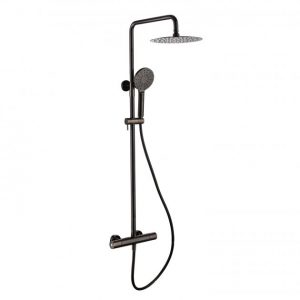 RAK Compact Thermostatic Round Bar Mixer Shower with Shower Kit + Fixed Head – Black Chrome