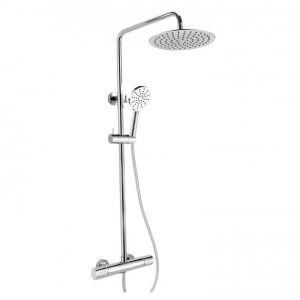 RAK Compact Thermostatic Round Bar Mixer Shower with Shower Kit + Fixed Head – Chrome
