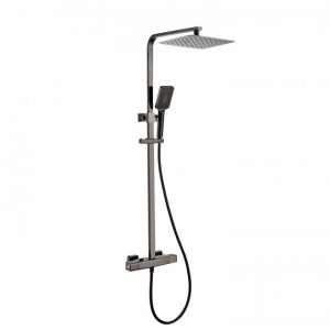 RAK Compact Thermostatic Square Bar Mixer Shower with Shower Kit + Fixed Head – Black Chrome