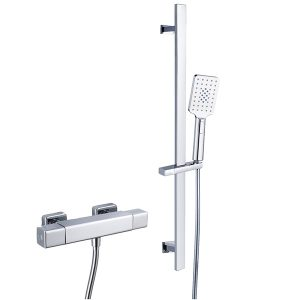 RAK Cool Touch Square Exposed Thermostatic Shower Valve with Slide Rail Kit – 700mm High – Chrome
