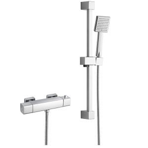 RAK Cool Touch Square Exposed Thermostatic Shower Valve with Slide Rail Kit – 610mm High – Chrome