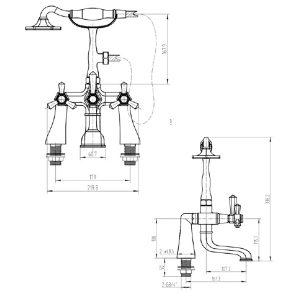 RAK Washington Bath Shower Mixer Tap – 2 Tap Hole – Chrome