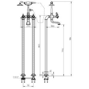 RAK Washington Floor Standing Bath Shower Mixer Tap – Chrome