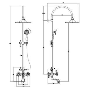 RAK Washington Thermostatic Complete Mixer Shower Valve with Bath Spout and Shower Kit