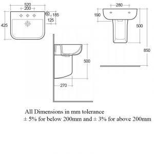 RAK Series 600 Basin & Semi Pedestal 520mm Wide 1 Tap Hole | S60052BAS1-S600HPED
