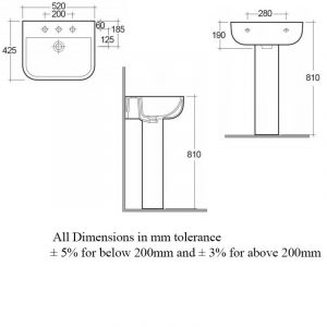 RAK Series 600 Basin & Semi Pedestal 520mm Wide 2 Tap Hole   S60052BAS2-S600HPED