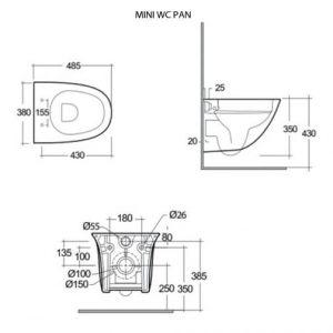 RAK Sensation Mini Wall Hung Toilet with Soft Close Seat (Urea) – White