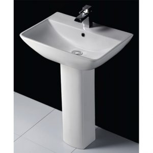 RAK Summit 50cm Basin With Hole Full Pedestal – 1Tap Hole