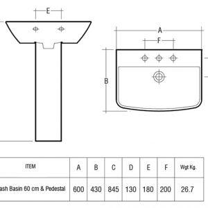 RAK Summit 60cm Basin with Full Pedestal – 1 Tap Hole