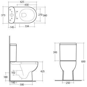 RAK Tonique Close Coupled BTW Toilet with Soft Close Seat – White