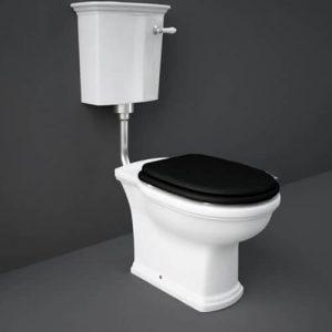 RAK Washington Low Level WC Pack Matt Black Soft Close Seat (Wood)