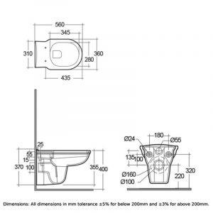 RAK Washington Rimless Wall Hung Toilet with Matt Cuppuccino Soft Close Seat (Wood)
