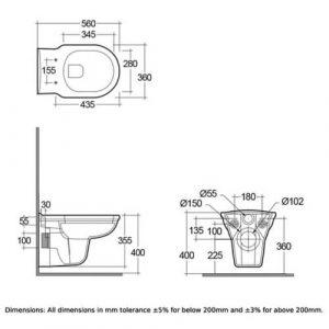 RAK Washington Wall Hung Toilet with Matt Black Soft Close Seat (Wood)