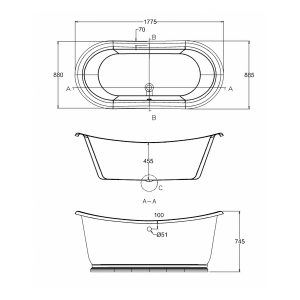 Burlington Admiral Oval Freestanding Bath  1800mm x 885mm