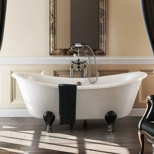 Burlington Bateau Freestanding Bath  1650mm x 700mm  Arc Black Feet