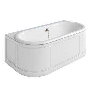 Burlington London Back to Wall Double Ended Bath 1800mm x 950mm  Matt White