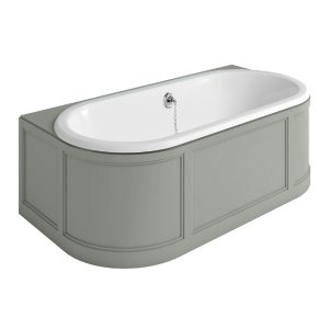 Burlington London Back to Wall Double Ended Bath 1800mm x 950mm  Dark Olive