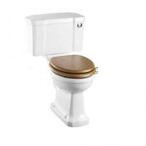 Burlington Rimless Close Coupled  Toilet with Front Push Button Cistern – White Without Seat