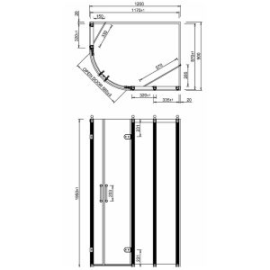 Burlington Traditional Offset Quadrant Shower Enclosure  8mm Glass   1200mm x 900mm  Right Handed