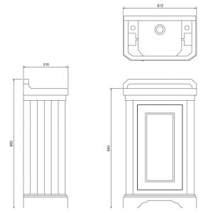 Burlington 1 – Door Cloakroom Vanity Unit With Basin – 510mm Wide – Matt White