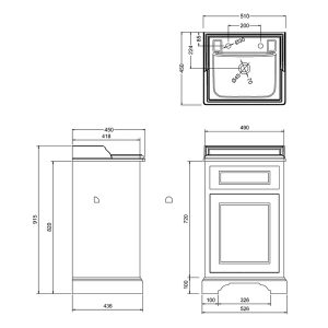 Burlington 1 – Door Freestanding Vanity Unit With Basin – 500mm Wide – Matt White