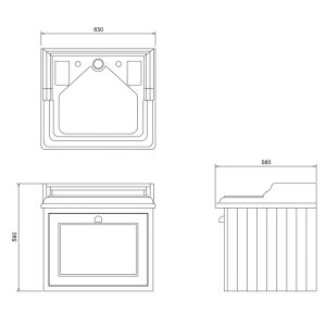 Burlington 65 Wall Hung Vanity Unit Invisible Overflow With Basin – 650mm Wide – 2 Tap Hole – Classic Grey