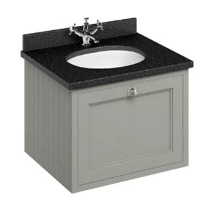 Burlington 65 Wall Hung Vanity Unit And Minerva Black Granite Worktop With Basin – 650mm Wide – Dark Olive