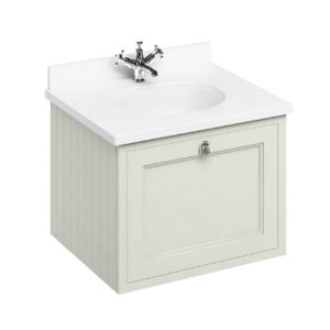Burlington 65 Wall Hung Vanity Unit And Minerva White Worktop With Basin – 650mm Wide – Sand
