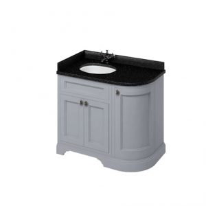 Burlington 100 Curved 3 – Doors Vanity Unit With Basin And Minerva Black Granite Worktop – 1000mm Wide – Classic Grey – Left Handed