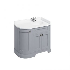 Burlington 100 Curved 3 – Doors Vanity Unit With Basin And Minerva White Worktop – 1000mm Wide – Classic Grey – Right Handed