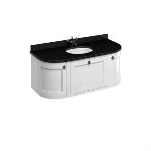 Burlington 134 Wall Hung Curved Vanity Unit And Black Granite Worktop With Basin – Matt White