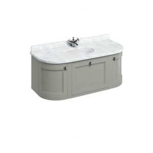 Burlington 134 Wall Hung Curved Vanity Unit And Carrara Worktop With Basin – Dark Olive