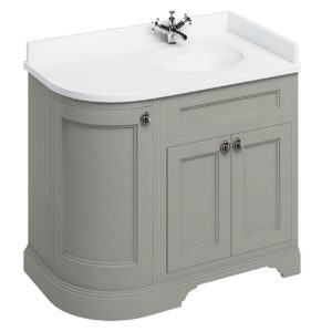 Burlington 100 Curved 3 – Doors Vanity Unit With Basin And Minerva White Worktop – 1000mm Wide – Dark Olive – Right Handed