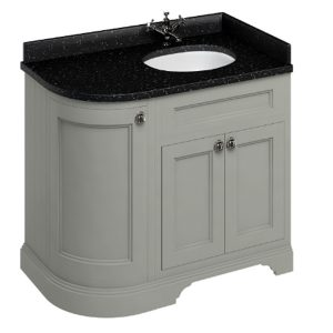Burlington 100 Curved 3 – Doors Vanity Unit With Basin And Minerva Black Granite Worktop – 1000mm Wide – Dark Olive – Right Handed