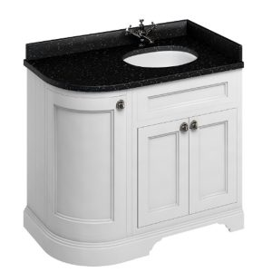 Burlington 100 Curved 3 – Doors Vanity Unit With Basin And Minerva Black Granite Worktop – 1000mm Wide – Matt White – Right Handed