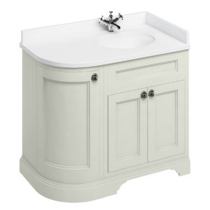 Burlington 100 Curved 3 – Doors Vanity Unit With Basin And Minerva White Worktop – 1000mm Wide – Sand – Right Handed