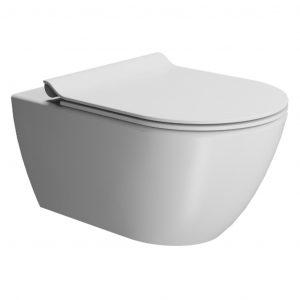 Gsi Pura 550mm X 360mm Wall Hung Toilet With Seat And Swirlflush – Matt White
