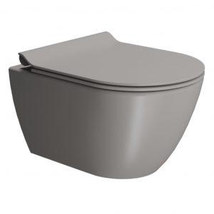 Gsi Pura 500mm X 360mm Wall Hung Toilet With Seat And Swirlflush – Tortora