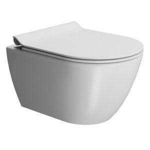 Gsi Pura 500mm X 360mm Wall Hung Toilet With Seat And Swirlflush – Matt White