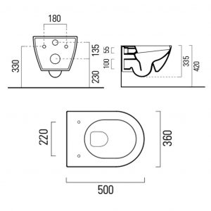 Gsi Pura 500mm X 360mm Wall Hung Toilet With Seat And Swirlflush – White