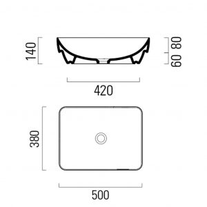 Gsi Pura 500mm X 380mm Countertop Basin – No TH – Bistro