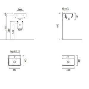 Gsi Sand 400 X 320mm Wall Hung Basin – 1 TH – Bistro